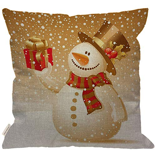 (HGOD DESIGNS Snowman Throw Pillow Cover,Funny Cute Snowman with Hat and Scarf Hand Present Burlap Pillow Cases Decorative for Women Girls Boys Couch Sofa Bedroom Living Room 18x18 Inch)