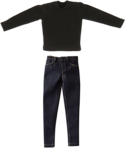 """1//6 Scale Black Long Sleeves Shirt /& Jeans Clothes Set For 12/"""" Figure Male Body"""