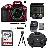 Nikon D3400 DSLR Camera (Red) with Nikon AF-P DX 18-55mm f/3.5-5.6G VR Lens + 32GB Memory Card + Camera Carrying Bag + Tripod (Certified Refurbished)