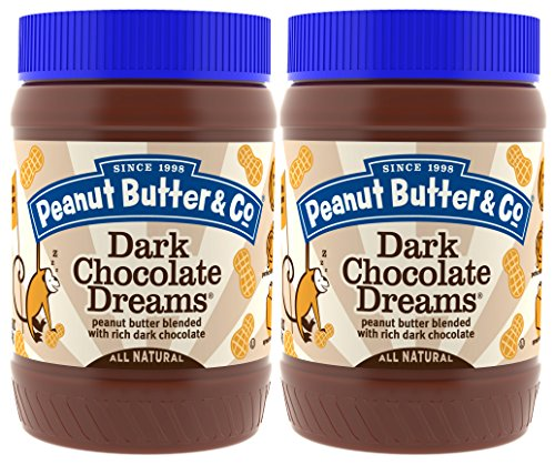 Peanut Butter & Co. Non-GMO, Gluten Free, Vegan Peanut Butter, Dark Chocolate Dreams, 16 Ounce Jars (Pack of 2)