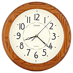 ISHIWA 14-inch Finest Round Oak Solid Wood Quality Quartz Wall Clock, Home Decor (WW0400)