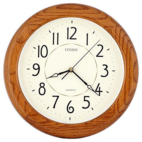 ISHIWA 14-inch Finest Round Oak Solid Wood Quality Quartz Wall Clock, Home Decor (WW0400)