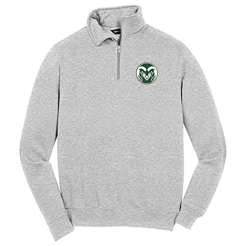 NCAA Colorado State Rams Men's 1/4 Zip Pullover, Medium, Athletic Heather by Campus Merchandise