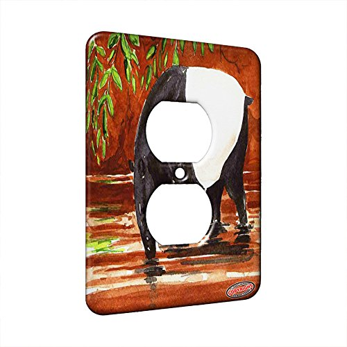 1 Gang AC Outlet Wall Plate - Tapir at River Bank Wildlife Art by Denise Every