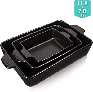 SWEEJAR Ceramic Bakeware Set, Rectangular Baking Dish Lasagna Pans for Cooking, Kitchen, Cake Dinner, Banquet and Daily Use, 11.8 x 7.8 x 2.75 Inches of Baking Pans (Black)