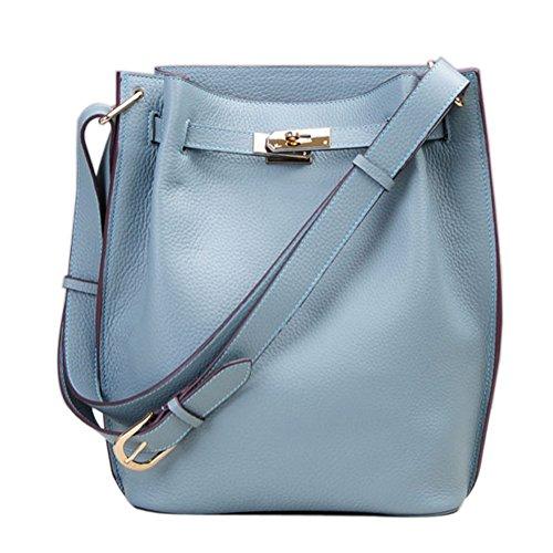 Shoulder Grey Ainifeel Genuine Women's Handbags Blue Leather Hobo Purse Bucket w8IZ8qxSp