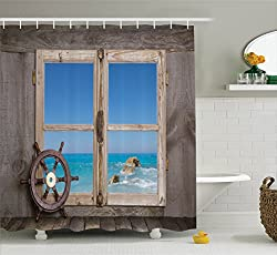Ambesonne House Decor Collection, View Through Wooden Window with Seascape Ocean Holiday Steering Wheel Maritime Image, Polyester Fabric Bathroom Shower Curtain, 84 Inches Extra Long, Blue Aqua Tan