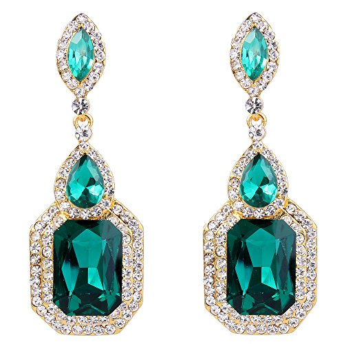 BriLove Women's Wedding Bridal Dangle Earrings Emerald Cut Crystal Infinity Figure 8 Chandelier Earrings Emerald Color Gold-Toned