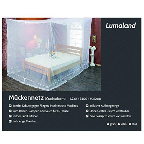Lumaland Moskitonetz kastenförmig 220x200x210cm Indoor Outdoor Verschiedene Farben Weiss