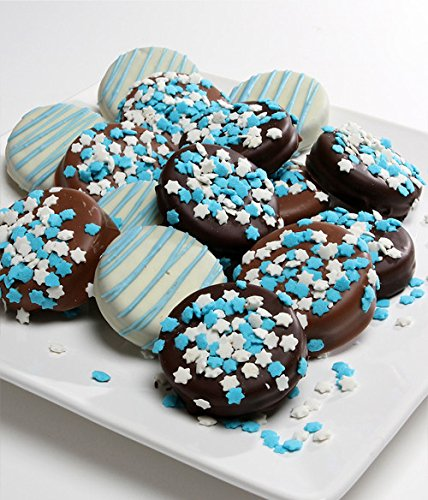 12 Piece Hanukkah Themed Belgian Chocolate Covered Oreo Cookies for Holiday Gifting Kosher By Benevelo Gifts