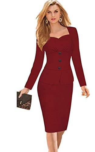 Babyonlinedress® Office OL Wear to Work Long Sleeve Bodycon Casual Party Pencil Dress
