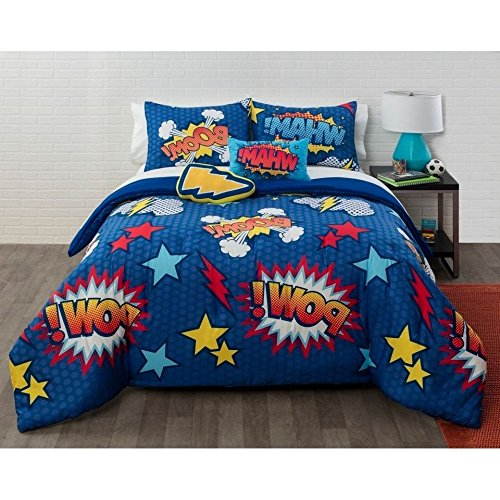 5 Piece Kids Super Hero Saying Comic Comforter Full Queen Set, Boys Girls Comics Quote Pow Boom Wham Expression Themed Bedding, Fun Vibrant Blue Red Yellow White Lightening Bolt Star Pattern Polyester