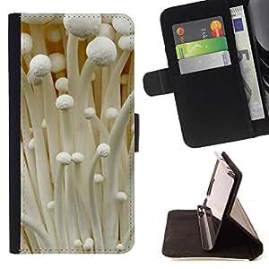 For Apple iPhone 5C Case , Blanco Otoño Bosque Hongo- la tarjeta de Crédito Slots PU Funda de cuero Monedero caso cubierta de piel