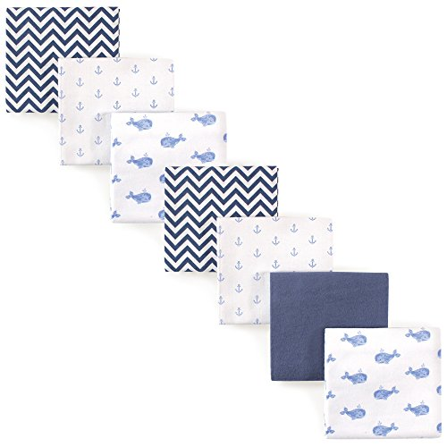 Hudson Baby 7 Piece Flannel Receiving Blanket, Blue Whales,