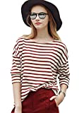 Women's Red and White Striped Loose T-shirt (S, Red stripe)