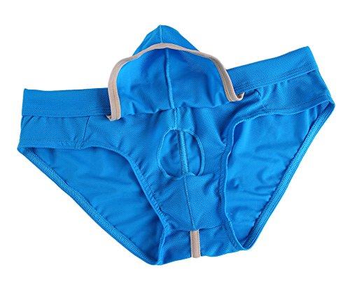 (Sexy Underwear Men's Boxer Briefs Shorts Bulge Pouch Soft Underpant(L,Blue))