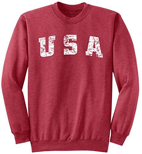 (Vintage USA Logo Crewneck Sweatshirt-Small Heather Red)