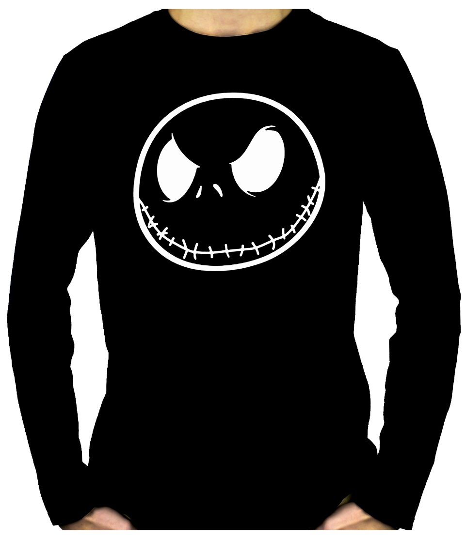 Negative Jack Skellington Face Long Sleeve Shirt Top Nightmare Before Christmas (XL)