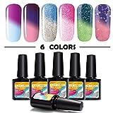 Mood Changing Nail Polish Modelones 6pcs Mood Gel Nail Polish Set,Soak Off UV Chameleon Color Changing Nail Polish Kit