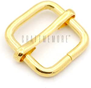 "CRAFTMEmore Movable Bar Slide Strap Adjuster Rectangle Strap Keeper Triglide Belt Keeper Purse Making 5/8"" 3/4"" 1"" Pack of 10 (5/8 Inch, Gold)"