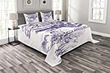 Lunarable Old Newspaper Bedspread Set Queen Size, Victorian Flower Romantic Antique Flourish Ornament Old Retro Calligraphy, Decorative Quilted 3 Piece Coverlet Set with 2 Pillow Shams, Purple White