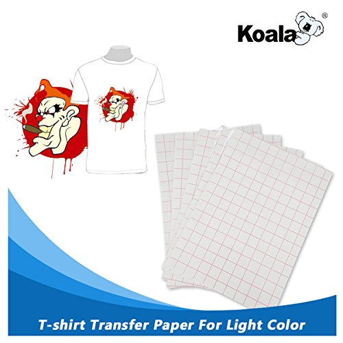 Koala Iron-on T-shirt Transfers Paper for Light Fabric, Suit for All Inkjet Printers, 8.5 x 11 Inches