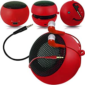 Direct-2-Your-Door - BlackBerry Passport Viajes recargable Cápsula altavoces de graves en voz alta de 3,5 mm Jack Jack de entrada y en la oreja los auriculares - Rojo