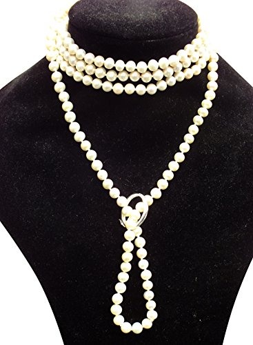 White Shanghai 6-7mm Cultured Pearl 135cm Long Necklace With A Sterling Silver Shortener by Pearls Paradise (Image #2)