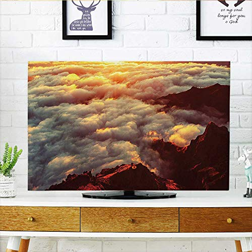 Auraisehome tv dust Cover Sunset on The Hill Tops Above The Clouds Unusual Extreme Morning Glory Print Dust Resistant Television Protector W32 x H51 INCH/TV - Glory Cart Morning