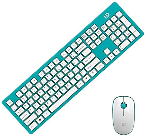 Forter G9500 2.4GHz Wirless Keyboard and Mouse Combo Set with Ultra Compact Keyboard, Whisper-Quiet Mouse and 2-in-1 Nano Receiver for PC Laptop Notebook (Wireless Mouse Zebra)