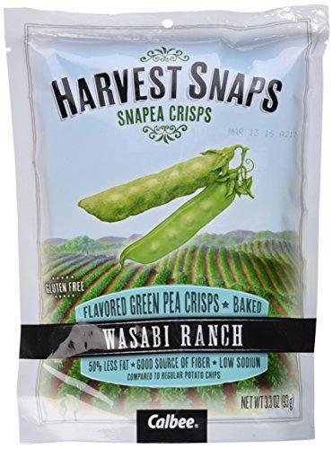Harvest Snaps Snapea Crisps Wasabi - Pack of 3, 3.3 Oz. Ea.