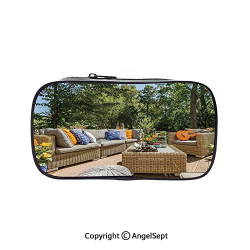 Pen Case Office College School Large Storage,Summer Town House Terrace Balcony with Trees Image Light Brown Forest Green and Sky Blue 5.1inches,Box Organizer New - Townhouse 2 Glasses