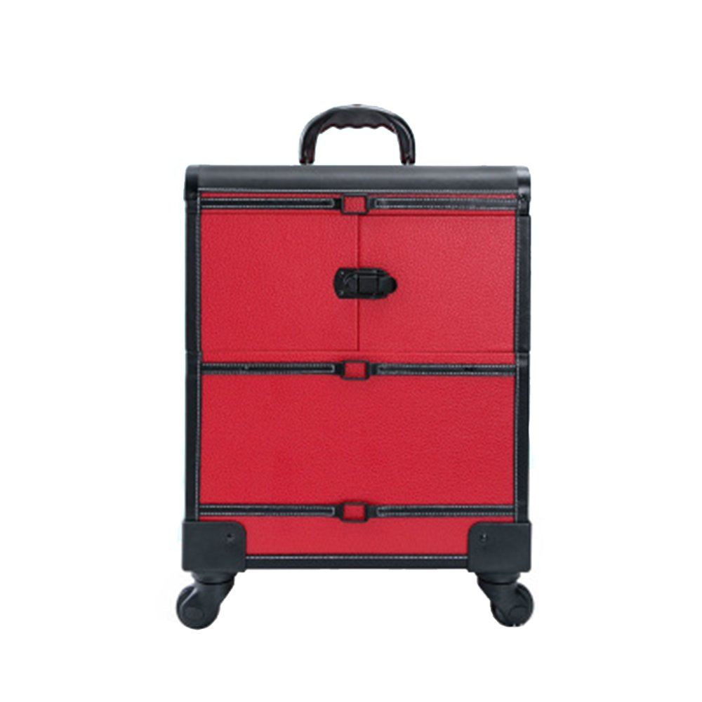 Vogvigo Large travel makeup case Multifunctional Rolling Makeup Case Extendable Lockable Make Up Trolley Aluminium Alloy Handle Cosmetic Train Case Storage Box with lock (Red+Black)