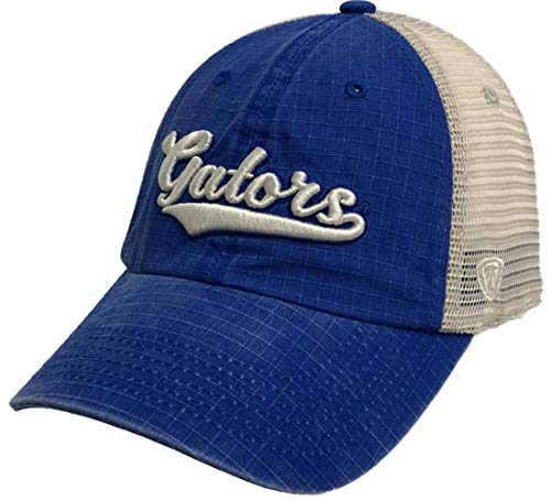Top of the World Florida Gators Tow Royal Blue Raggs Mesh Script Logo Snapback Slouch Hat Cap