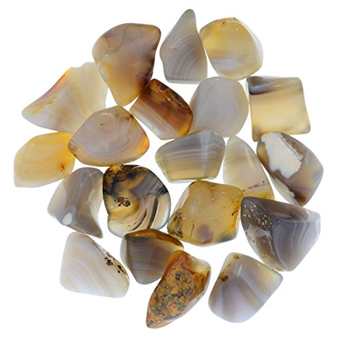 Digging Dolls: 1/2 lb Tumbled Banded Agate Stones from Madagascar - 0.75