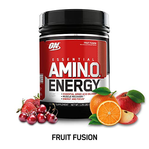OPTIMUM NUTRITION ESSENTIAL AMINO ENERGY, Fruit Fusion, Keto Friendly Preworkout and Essential Amino Acids with Green Tea and Green Coffee Extract, 20.64 Ounce (Pack of 1)