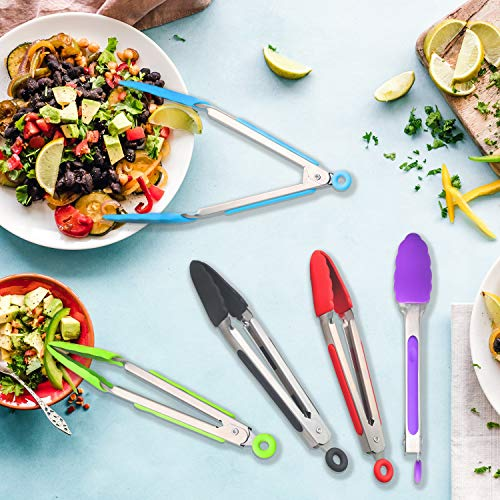 Serving /& Frying Small Salad Tongs with Stainless Steel Handle Mini Silicone Serving Tongs 7 Inch Set of 3 Spatula Tong Small Kitchen Tongs with Silicone Tips for Cooking Serving Tongs for Food
