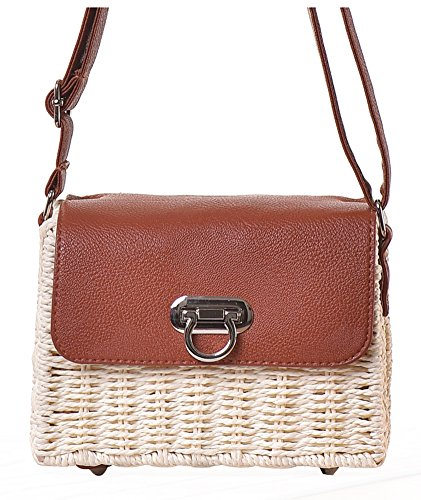 Hycurey Retro Straw Purse and Handbag Small Box Woven Womens Summer Beach Cross Body Bag Shoulder Messenger Satchel (Vintage Box Purses)