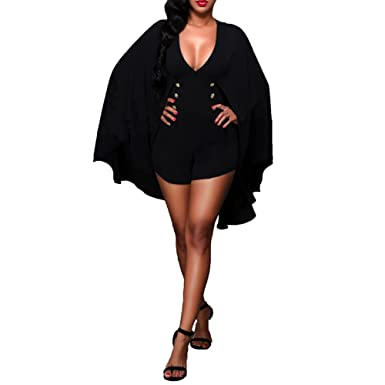 d71506b0fe4 Bodycon4U Womens Plus Size Double-breasted Cape Dolman Short Romper Dress  Jumpsuit