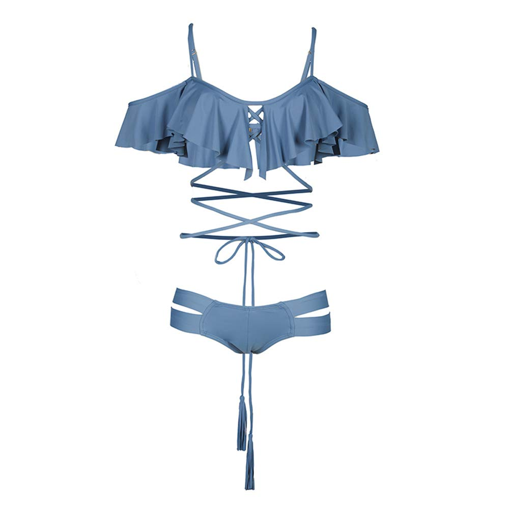 MEI GU Bikini Sexy Swimsuit Swimsuit Female 0221 (color   blueee, Size   L)