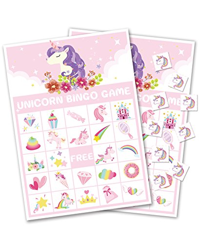 Unicorn Bingo Game Party Supplies - Girls Magical Rainbow Birthday Favors Decorations (24 Players)