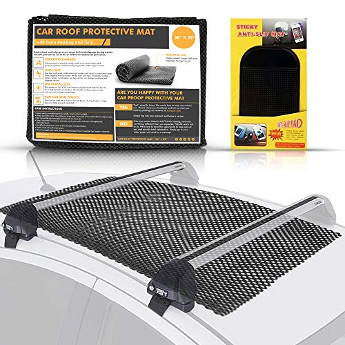 "EVERSTRONG Car Top Carrier - Roof Rack Pad for Cars/Trucks/Vans/SUV Carriers (36"" x 39"") - Extra Padding & Grip - Residue Free Liner - Safely Carry Cargo/Bikes/Kayak/Surf or Paddle Board (Black)"
