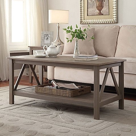 Titian Pine Coffee Table in Rustic Grey | Measures 21.97'' L x 44.02'' W x 20'' H by Titian