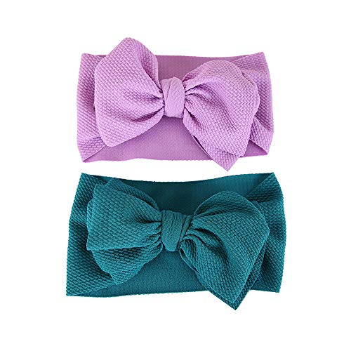 - BEAMIO Big Hair Bow Baby Headbands -Top Knot Headwrap Nylon Elastic Head Wraps for Newborn Infant Toddler Hair Accessories (Purple), 7.84.7inch