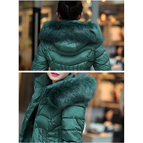 Outerwear Collar Zip with Hooded Green Coats Long et Hiver Big Padded Cotton Classic Zhhlinyuan pour Chic Warm élégant Femmes Owqx8X