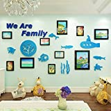 LemonGo We Are Family Photo Frame Wall Sticker Sea World 3D Crystal Acrylic Wall Decals Wall Murals Decoration for Living Room Children Room Baby Nursery