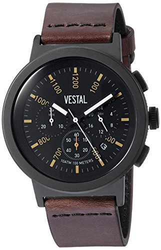 Vestal Quartz Stainless Steel and Leather Dress Watch, Color:Brown (Model: SLR44CL03.DBNK)