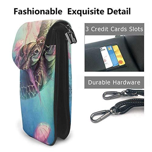 HYJUK Mobiltelefon crossbody väska sköldpadda och manet kvinnor PU-läder mode handväska med justerbar rem