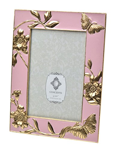 Concepts Pink Cast Metal Picture Frame With Gold Butterfly Flower 4
