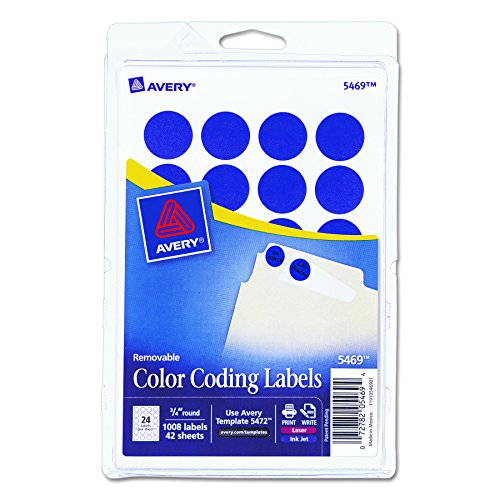 Removable Round Color Coding Labels (Avery Print/Write Self-Adhesive Removable Labels, 0.75 Inch Diameter, Dark Blue, 1,008 per Pack  (5469))